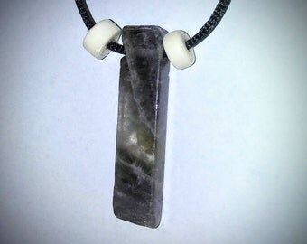 Smokey Amethyst and Ox-bone primitive style pendant