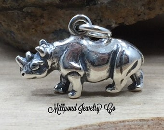 Rhino Charm, Rhinoceros Charm, Rhino Pendant, Sterling Silver Rhino Charm, Zoo Charm, Zoo Animal, Jewelry Supplies
