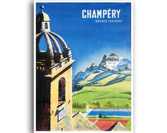 Champery Art Swiss Travel Poster Vintage Print (XR978)