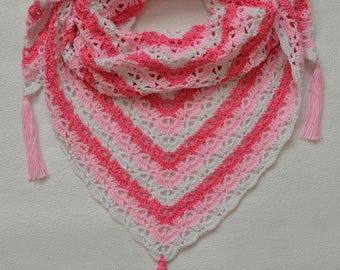Crochet  pink white baktus, scarf, knit baktus, knitted baktus, shawl, crochet baktus, crochet shawl, crochet accessories, shawls, batuses