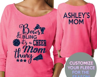 Bows and Bling Cheer Mom Wide Neck Fleece