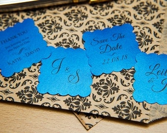"""Regal Blue Pearlised 1.5 inch Square Shiny Stickers, Envelope Seals. Custom Blue Stickers. 1.5"""" Save the date stickers. Invitation Seals."""