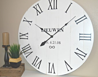 """36"""" Monogramed Large Oversized Distressed Wood Wall Clock, Antique White with Black Roman Numerals"""