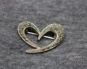 Sterling Silver, Vintage Heart-Shape Brooch Pin