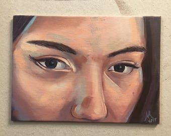 "5 x 7 oil on canvas painting - ""Those Eyes"""