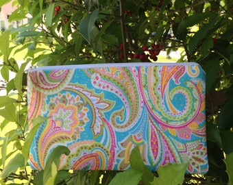 Paisley Pencil Pouch, Cosmetic Pouch, Coupon Holder, Makeup Bag, Coin Pouch