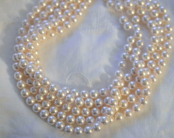 50 ~ Creamrose 8MM 5810 Swarovski Crystal Beads Pearls ~ Continuous Strand with Stringing Cord