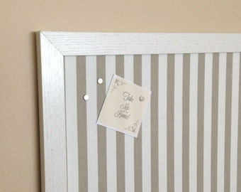 Tan Stripes Fabric Magnetic Board / Strong Magnets Included / Framed Magnetic Board