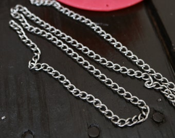 Vintage Stainless Steel Curb Chain, 3 Feet