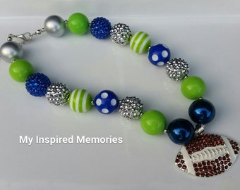 Free Shipping! Seattle Seahawks Inspired bubblegum necklace, child toddler seattle seahawks necklace