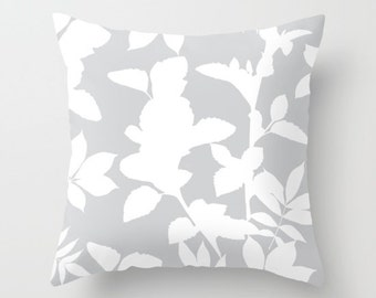 Grey pillow with insert  - Grey Decor - Leaves pillow with insert  - Modern Home Decor - By Aldari Home