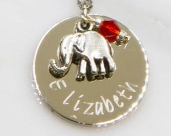 Elephant Necklace, Personalized Elephant Necklace, Personalized Name Necklace, Little Girl Gift, Animal Lover Necklace, Elephant Necklace
