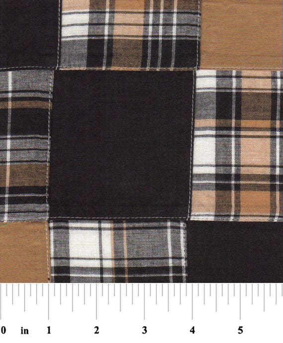 Black and Gold Patchwork Plaid Fabric