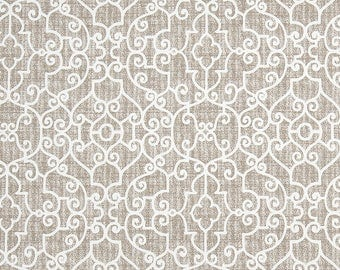 Taupe Gray Tan Contemporary Home Decor Fabric by the Yard Designer Cotton Drapery or Upholstery Fabric Neutral Trellis Geometric Fabric B522