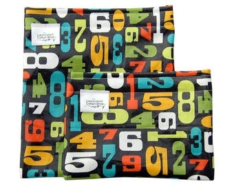 Reusable Snack Bag Set/ Snack and Sandwich Bag Food Grade Waterproof Laminated Cotton Retro Numbers