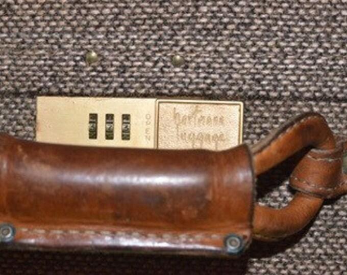 """Vintage Estate 1940s Brown Belting Leather Tweed Hartmann Pullman Woodbox Luggage 26"""""""