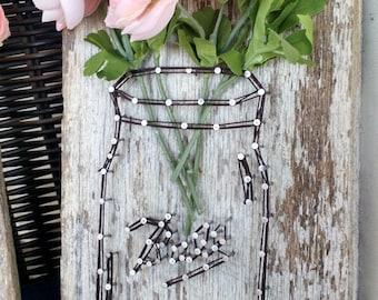 Mason Jar and Flowers String Art