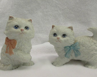 Cat Figurines, Set of Two, Pink and Blue Bows, Hanco, Taiwan, 1970's