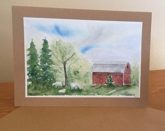 Barn original painting watercolor card. for her, mother, daughter, for him, father, wall art, farm, landscape, barnyard, sheep,grass, trees,