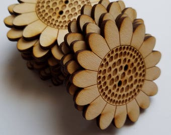 Set of 24 Wooden Sunflower Cut Outs ( Embellishments, Scrap Booking, Mixed Media )