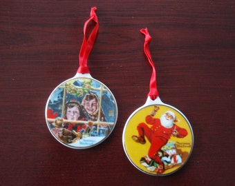 Two 1984 Norman Rockwell Porcelain Hanging Christmas Ornaments Ringing in Good Cheer and High Hopes Collectible Home and Living Decor B31