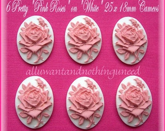 6 Unset Gorgeous Bright PINK Roses on White 25mm x18mm Cameos Floral Flower Rose Cabachons Cameo for Making Costume Jewelry