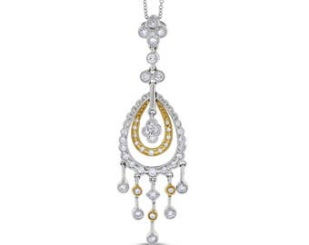 0.73 Ct Natural Diamond Dangling Pendant Filigree Necklace 14k White/Yellow Gold