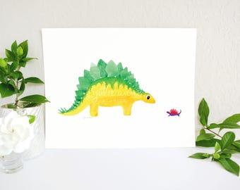 Dinosaur Nursery Decor, Dinosaur Art, Stegosaurus and Dinosaur Friend Print, Baby Dinosaur, Dinosaur Theme, Boy Room Decor, Kids Wall Art