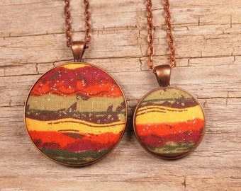 Fall striped fabric covered button necklace, fall pendant, fall necklace, autumn necklace, fall jewelry, fall striped jewelry