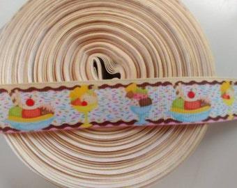 Ice Cream 1 inch 1 yard grosgrain ribbon