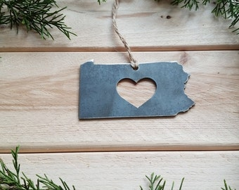Love Pennsylvania Steel Ornament Rustic PA Metal State Heart Holiday Gift Stocking Stuffer Industrial Decor Wedding Favor BE Creations