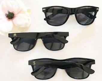 Sunglasses, Black with Gold Monogram