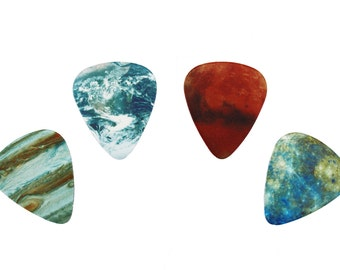 4 PLANET guitar picks, Custom Guitar Pick, Custom Guitar Picks, Personalized Guitar Pick
