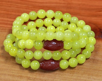 Natural lemon jade bracelet green serpentine jade bracelet healing crystal 1085
