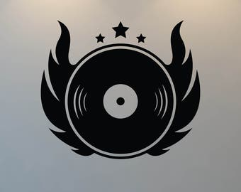 DJ Wall Decal, Record, Record Player, Free Shipping