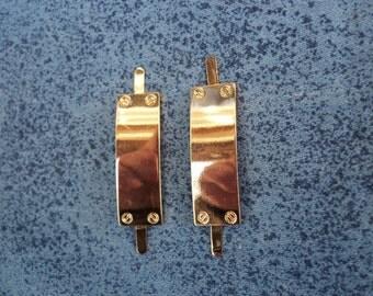2 pcs  Decorative metal plate,35mmX12mm,decoration for bag,  purse, color gold.A1.