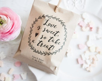 10 Love is Sweet Personalised Paper Goodie Bags