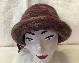 Varigated pink, green & brown 100% wool felted hat with cord.