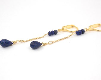 DROPS - Quartz and Opal and Gold filled Long Earrings and Gems Stones
