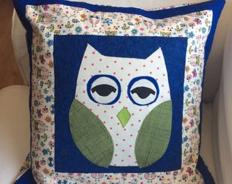 Owl Quilted Pillow Cover