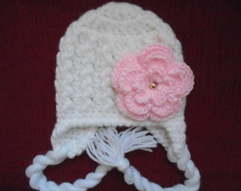 Baby girl winter hat Newborn earflap hat White newborn hat Baby girl hat Winter newborn hat Crochet baby hat Baby earflap hat Baby hat
