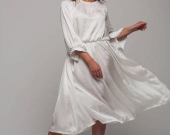 White bridal dress, Silk loose dress, Bridesmaid midi dress,  Evening 3/4 sleeves dress, Evening Summer Dress, Silk dress, Pleats dress