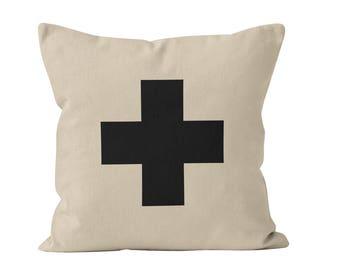 45 colors Black Swiss Cross Pillow Cover, Plus Sign Pillow Cover, Swiss Cross Cushion Cover, Swiss Cross Pillow Case, Swiss Cross Home Decor