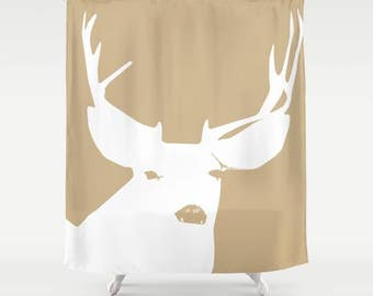 45 colors Deer Shower Curtain, woodland animal shower curtain, neutral bathroom shower curtains, deer with antlers farmhouse bathroom decor