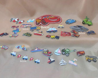 Wholesale Lot  35pcs  embroidered  cartoon   transportation car truck boat plane  sewing iron on patch
