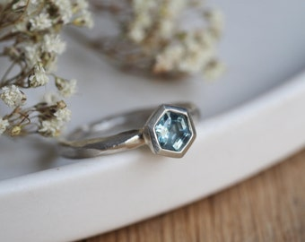 Faceted Hexagon cut Aquamarine + Sterling Silver Solitaire ring // Contemporary Silver Jewellery // Made to Order