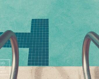 Fine Art Photography Pool Prints, Tile lane markings on bottom of pool, Pool Railings, Swimming, Swimmer's Room, Retro Tone, Kids Bedroom
