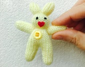 Yellow Mini Bunny Rabbit  9cms  Knitted  Pale Yellow with Deep Pink Felt Heart Nose and Yellow Button