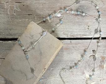 Aquamarine and Rainbow Moonstone Leaf 'Y' Necklace