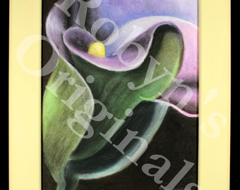 Purple Calla Lily Original Pastel Drawing With Handcrafted Frame